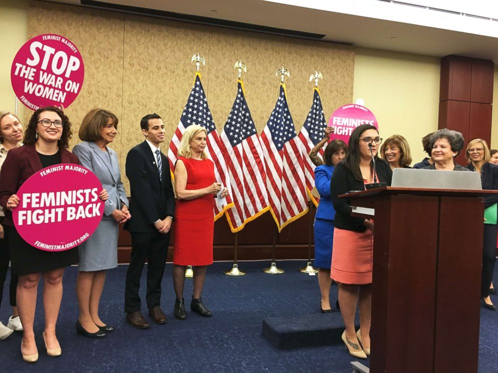 PHOTO: Jess Davidson, the interim executive director of End Rape on Campus, speaks in front of congress at an event introducing the Title IX Protection Act.