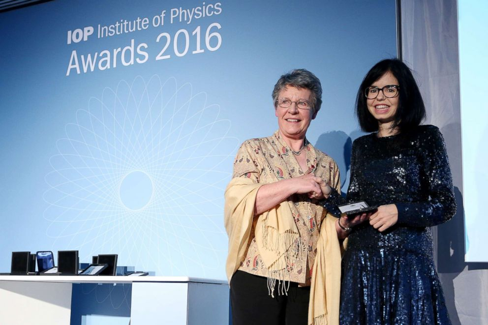 PHOTO: Jess Wade, right, receives the 2016 Institute of Physics award.