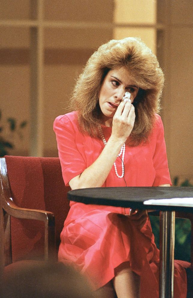PHOTO: Ex-PTL church secretary Jessica Hahn wipes away a tear as she answers questions on the Donahue show in New York on June 24, 1987.