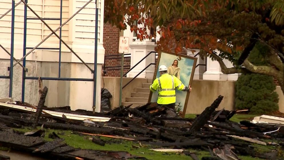A painting of Jesus Christ survived a fire that destroyed the First Baptist Church in Wakefield, Massachusetts.