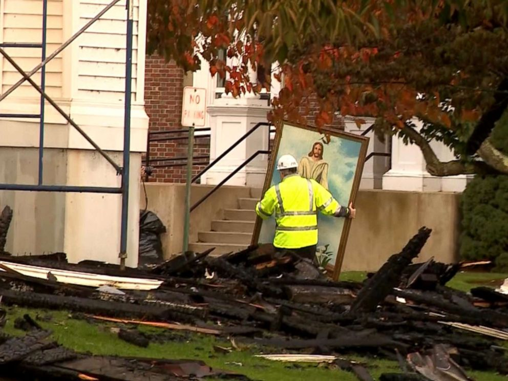 PHOTO: A painting of Jesus Christ survived a fire that destroyed the First Baptist Church in Wakefield, Massachusetts.