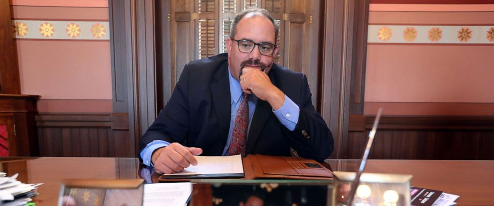 PHOTO: Michigan State Senator, Jim Ananich, Minority Leader, in his office in the the Michigan state capital, Aug. 27, 2019, in Lansing, Mich.