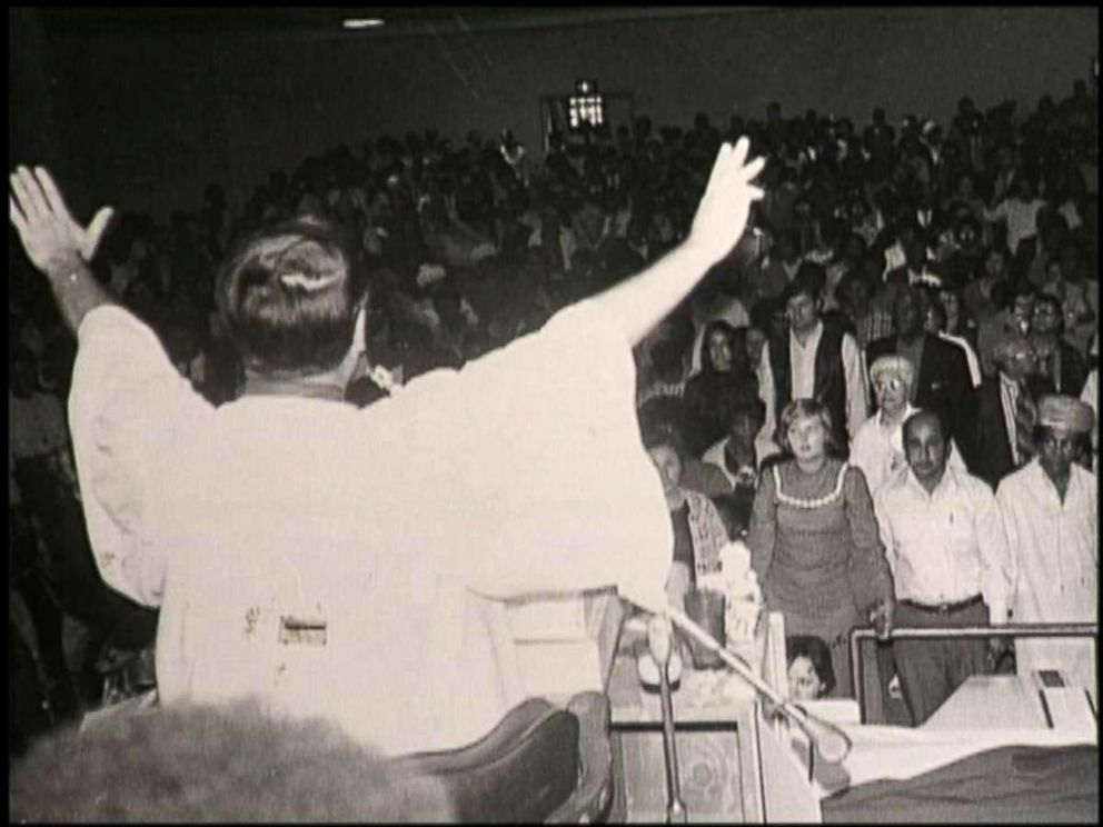 PHOTO: Peoples Temple leader Jim Jones is pictured before a congregation in this undated photo.