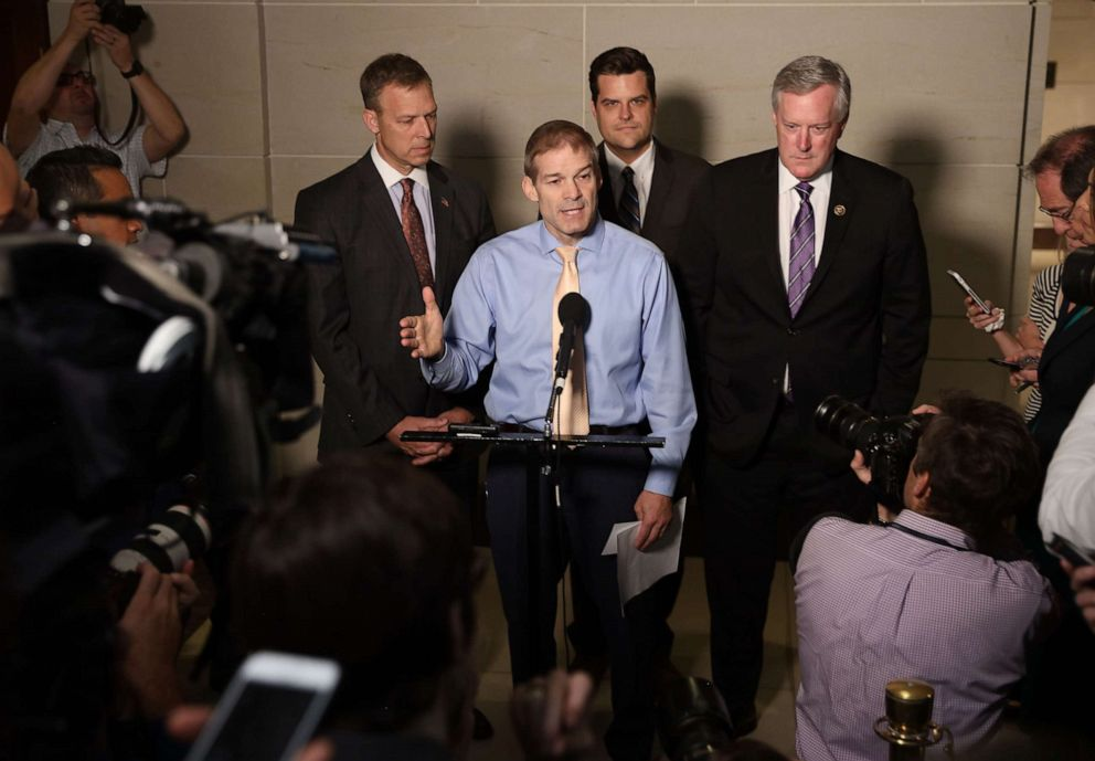 PHOTO: Rep. Jim Jordan ranking member of the House Oversight Committee, speaks with fellow Republican members of the House at the Capitol on October 08, 2019, in Washington, D.C.