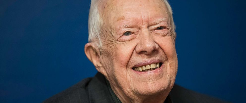 PHOTO: Former President Jimmy Carter smiles during a book signing event in Midtown Manhattan, March 26, 2018, in New York.