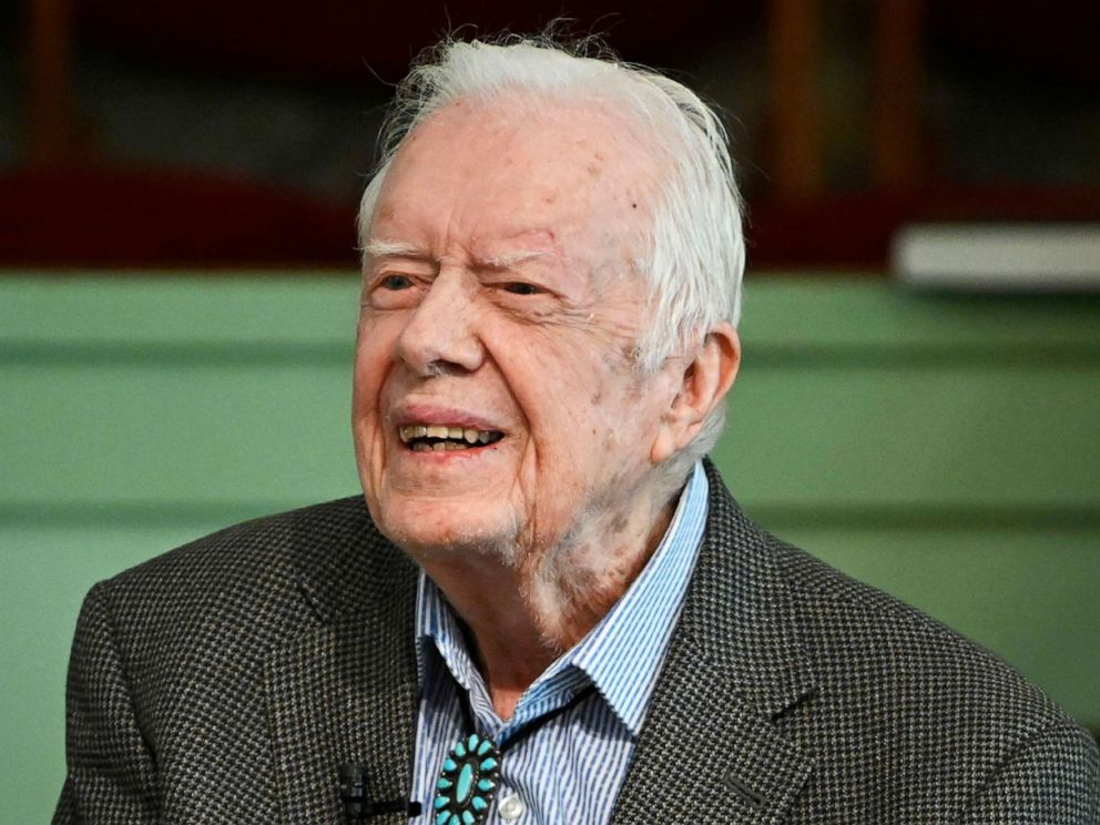PHOTO: In this Nov. 3, 2019 file photo, former President Jimmy Carter teaches Sunday school at Maranatha Baptist Church in Plains, Ga.