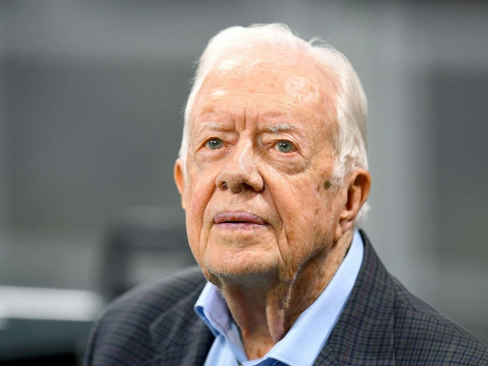 PHOTO: Former president Jimmy Carter prior to the game between the Atlanta Falcons and the Cincinnati Bengals, Sept. 30, 2018.