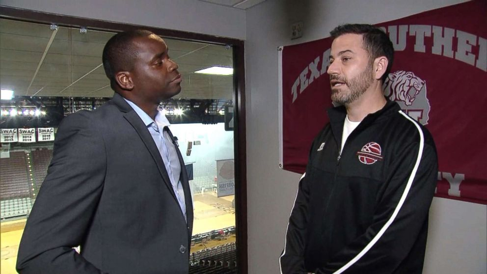 Jimmy Kimmel speaks with ABC's Marcus Moore ahead of Kimmel's basketball game against Sen. Ted Cruz in Houston, June 16, 2018.