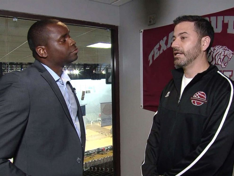 PHOTO: Jimmy Kimmel speaks with ABCs Marcus Moore ahead of Kimmels basketball game against Sen. Ted Cruz in Houston, June 16, 2018.