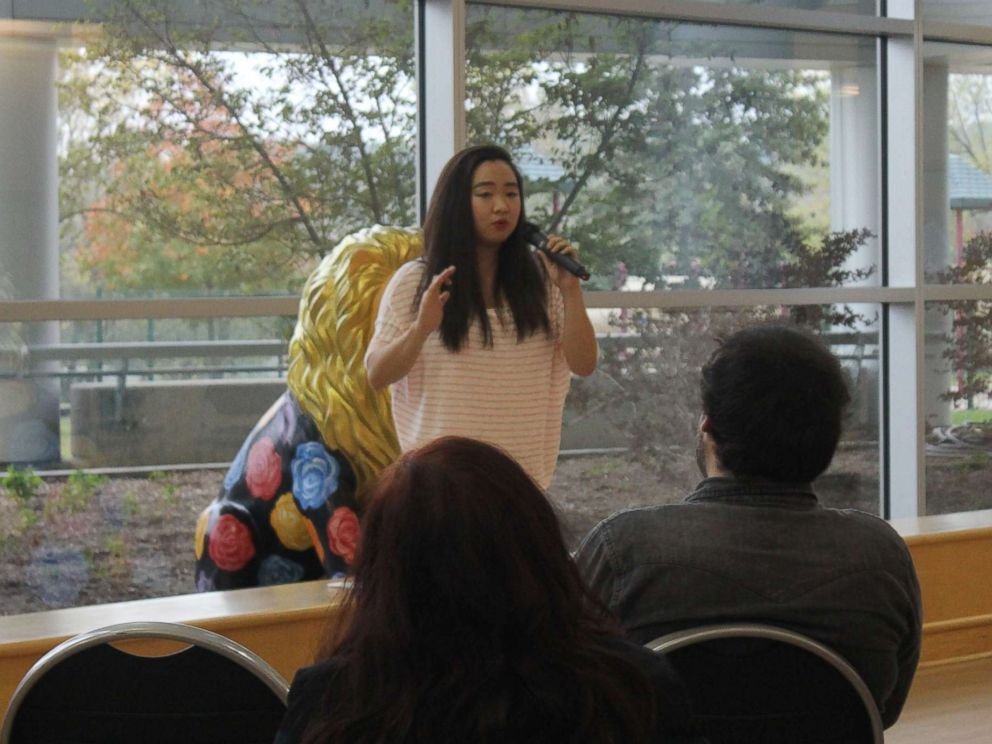 PHOTO: Jiyong Pak performs with the storytelling group Relato:Detroit at Oakland University near Detroit, Oct. 12, 2017.