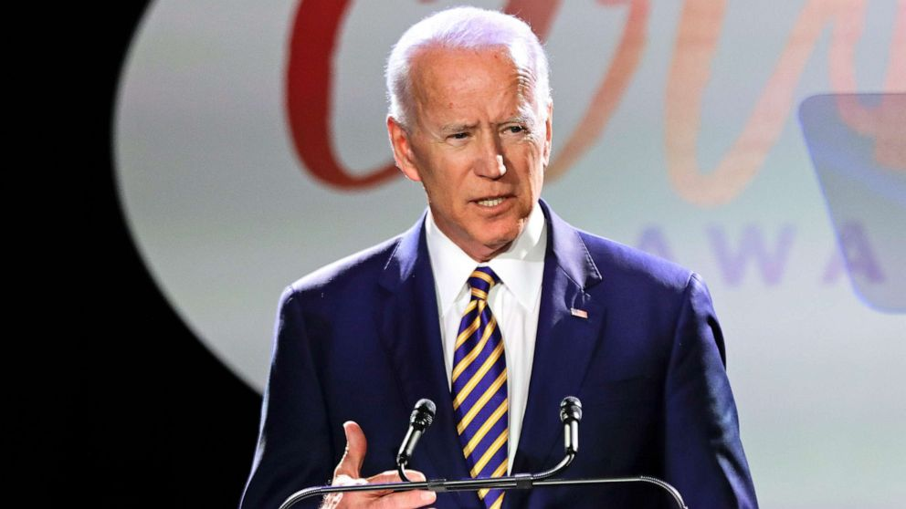Former Vice President Joe Biden speaks at the Biden Courage Awards in New York, March 26, 2019.
