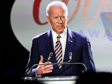 PHOTO: Former Vice President Joe Biden speaks at the Biden Courage Awards in New York, March 26, 2019.