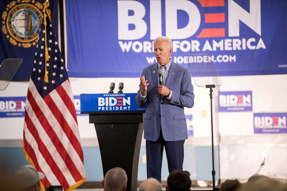 PHOTO: Former Vice President and Democratic presidential candidate Joe Biden holds a campaign event at the IBEW Local 490, June 4, 2019, in Concord, New Hampshire.