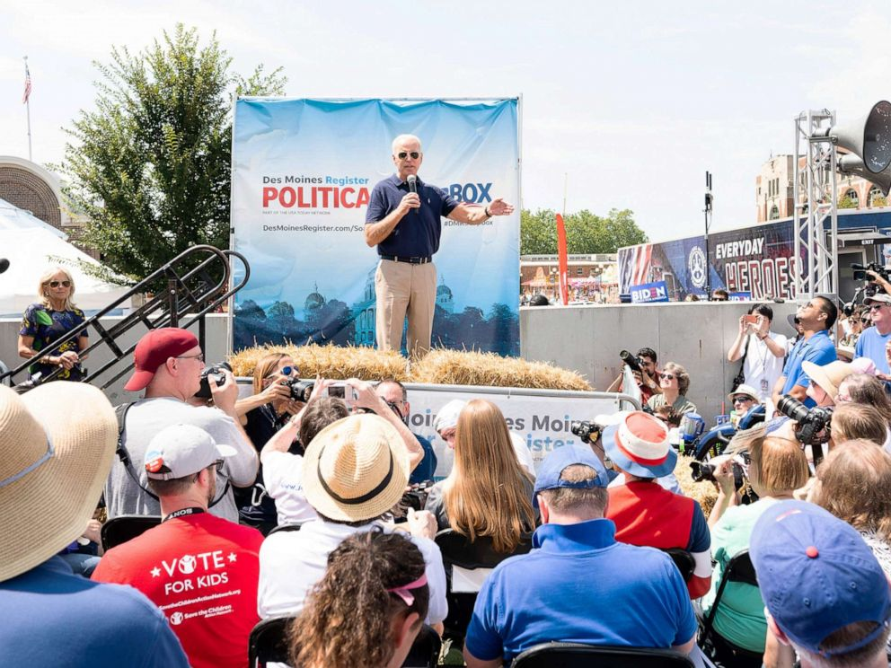PHOTO: Former Vice President Joe Biden speaking on the Soapbox at the Iowa State Fair in Des Moines, Iowa on August 8, 2019.