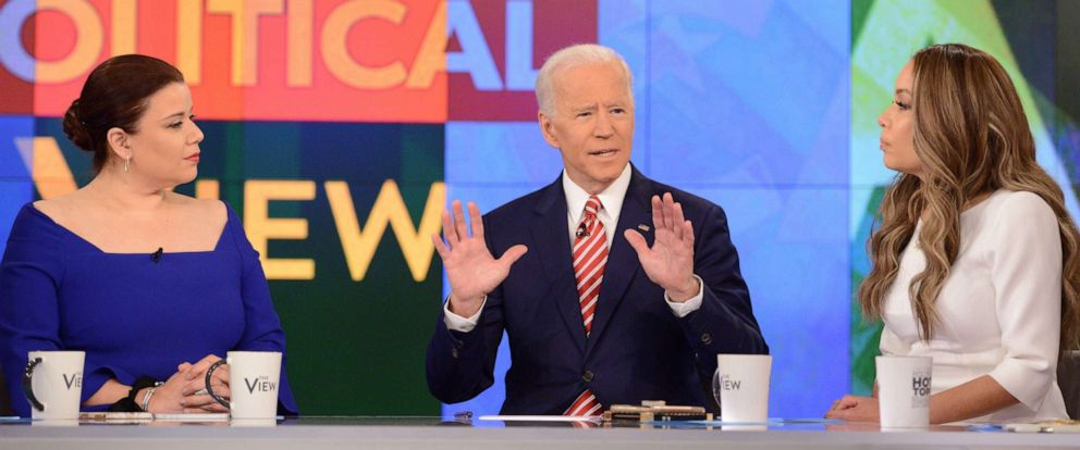 "PHOTO: Former Vice President and Democratic presidential candidate Joe Biden appears on ABCs, ""The View,"" in New York, April 26, 2019."