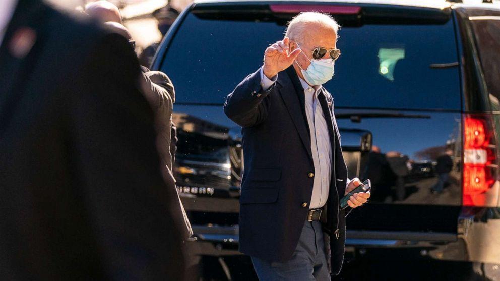 PHOTO: President-elect Joe Biden arrives at The Queen theater, Wednesday, Nov. 18, 2020, in Wilmington, Del.