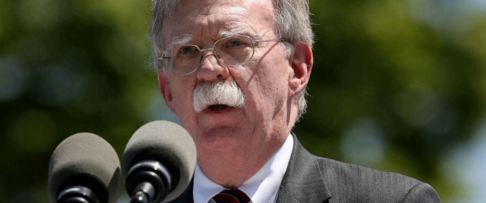 PHOTO: In this file photo, National Security Advisor John Bolton speaks during a graduation ceremony at the U.S. Coast Guard Academy in New London, Conn., on May 22, 2019.