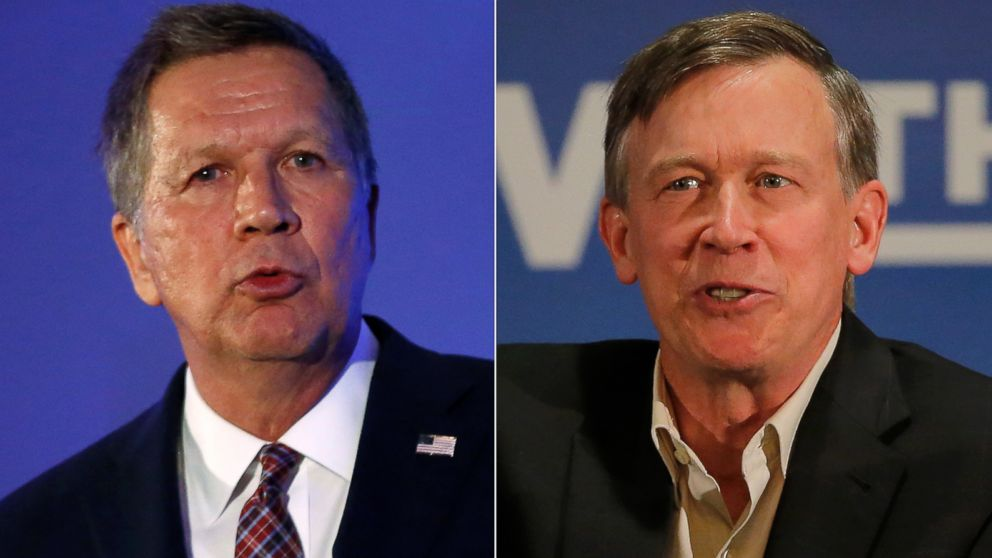 Pictured (L-R) in these file photos are John Kasich in Burlingame, Calif., April 29, 2016 and John Hickenlooper in Aurora, Colo., Oct. 21, 2014.