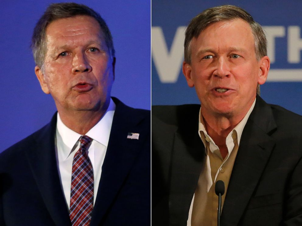 PHOTO: Pictured (L-R) in these file photos are John Kasich in Burlingame, Calif., April 29, 2016 and John Hickenlooper in Aurora, Colo., Oct. 21, 2014.
