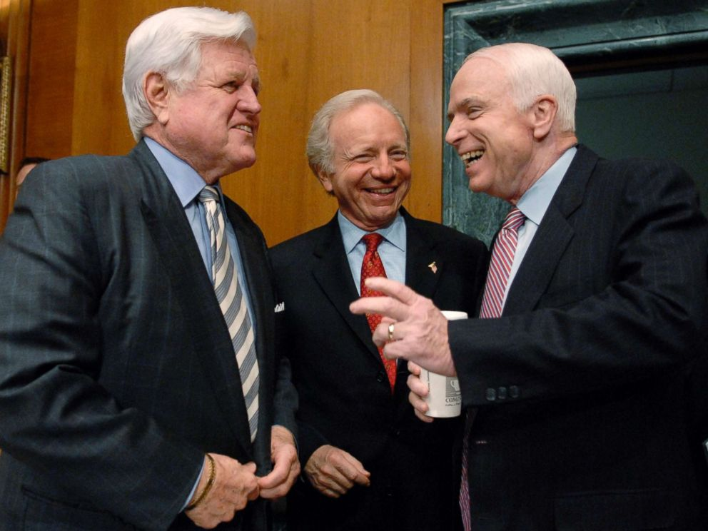 PHOTO: Senators Ted Kennedy, Joe Lieberman and John McCain speak to one another before the Senate Armed Services Committee hearing the war in Iraq on Capitol Hill in Washington, April 8, 2008.