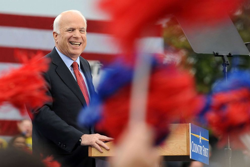 PHOTO: Republican presidential candidate John McCain speaks during a rally at the Heartland High School & Academy in Belton, Missouri, Oct. 20, 2008.