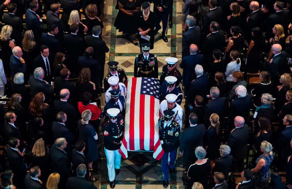 PHOTO: The casket of the late Sen. John McCain, Republican of Arizona, is carried out after the National Memorial Service at the Washington National Cathedral in Washington, D.C., Sept. 1, 2018.