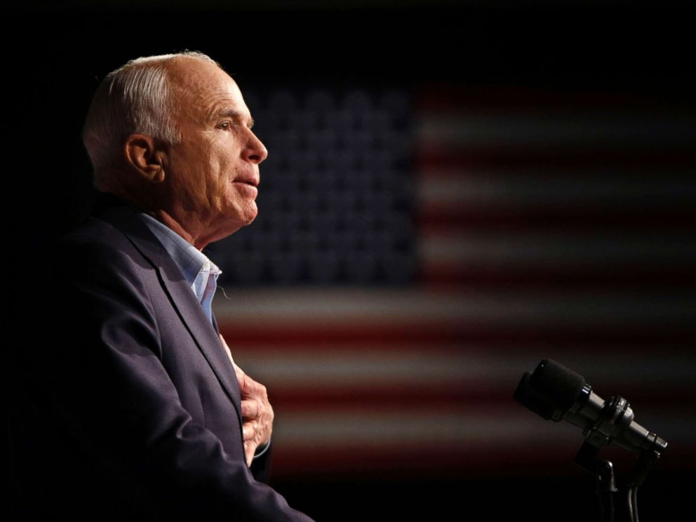 PHOTO: Sen. John McCain addresses a rally in Davenport, Iowa during his campaign for president, Oct. 11, 2008.