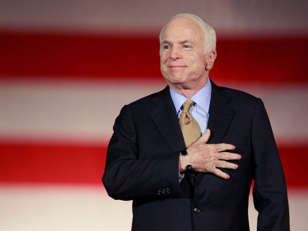 PHOTO: Republican presidential nominee and Sen. John McCain concedes victory on stage during the election night rally, Nov. 4, 2008 in Phoenix, Ariz.