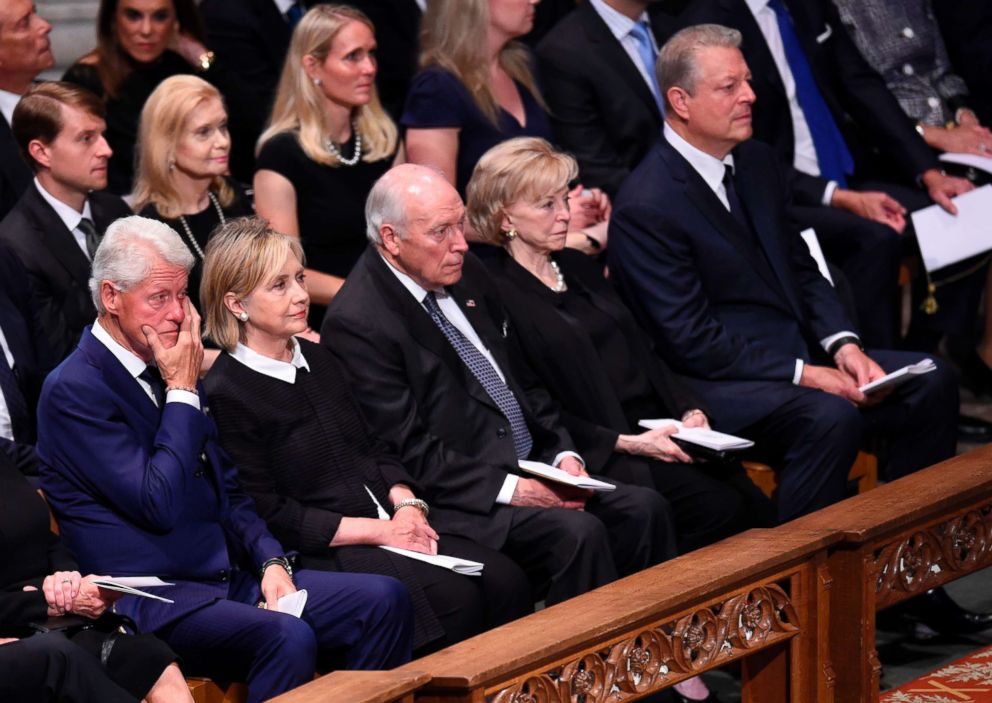 PHOTO: (L-R) Bill Clinton, Hillary Clinton, Dick Cheney, Lynne Cheney and Al Gore attend a memorial service for Sen. John McCain at the Washington National Cathedral in Washington, Sept. 1, 2018.