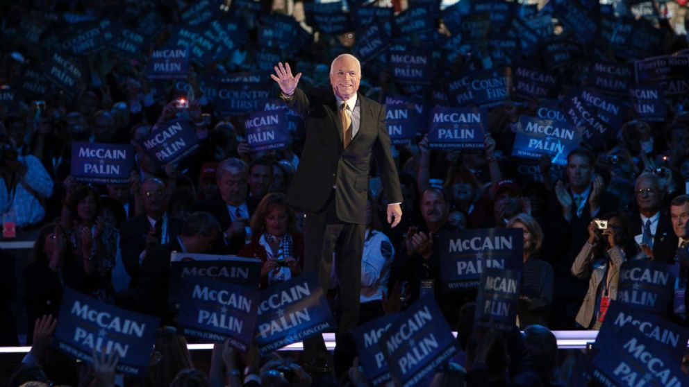 Senator and presidential candidate John McCain acknowledges the crowd at the Republican National Convention in St. Paul, Minn., Sept. 4, 2008.