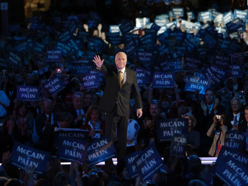 PHOTO: Senator and presidential candidate John McCain acknowledges the crowd at the Republican National Convention in St. Paul, Minn., Sept. 4, 2008.