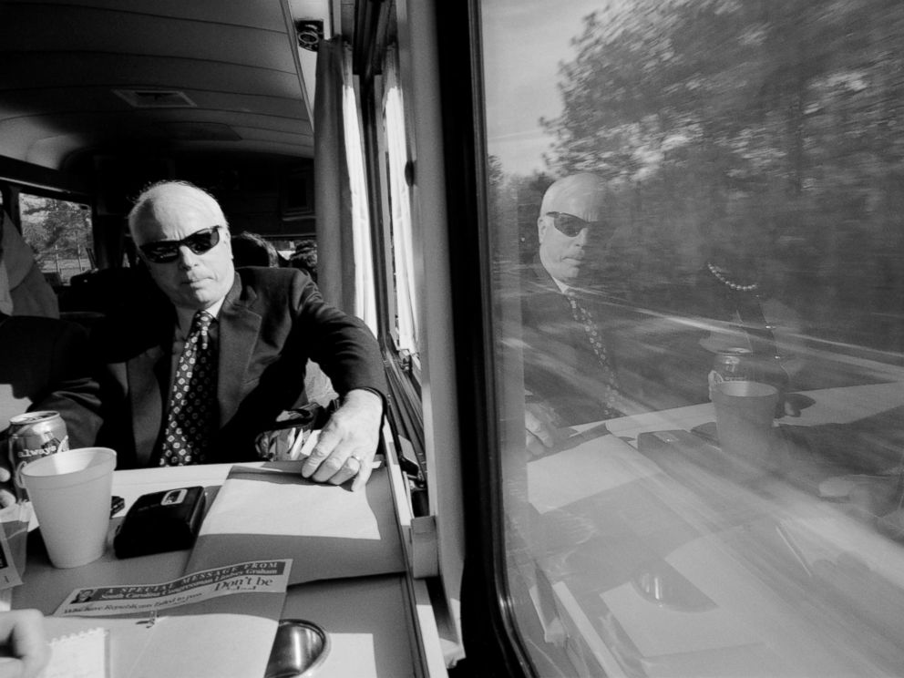PHOTO: Senator John McCain on The Straight Talk Express, Jan. 7, 2000 in Columbia, South Carolina.