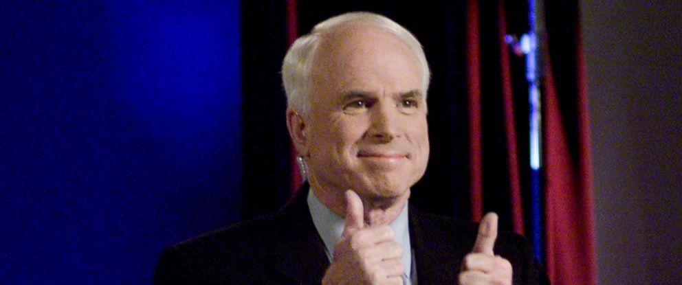 PHOTO: Arizona Senator and Republican presidential hopeful John McCain participates candidates debate via satellite from St. Louis, March 2, 2000.