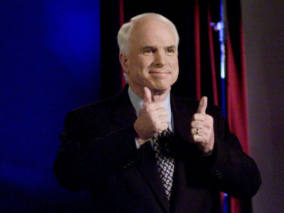 PHOTO: Arizona Senator and Republican presidential hopeful John McCain participates candidates debate via satellite from St. Louis, March 2, 2000.