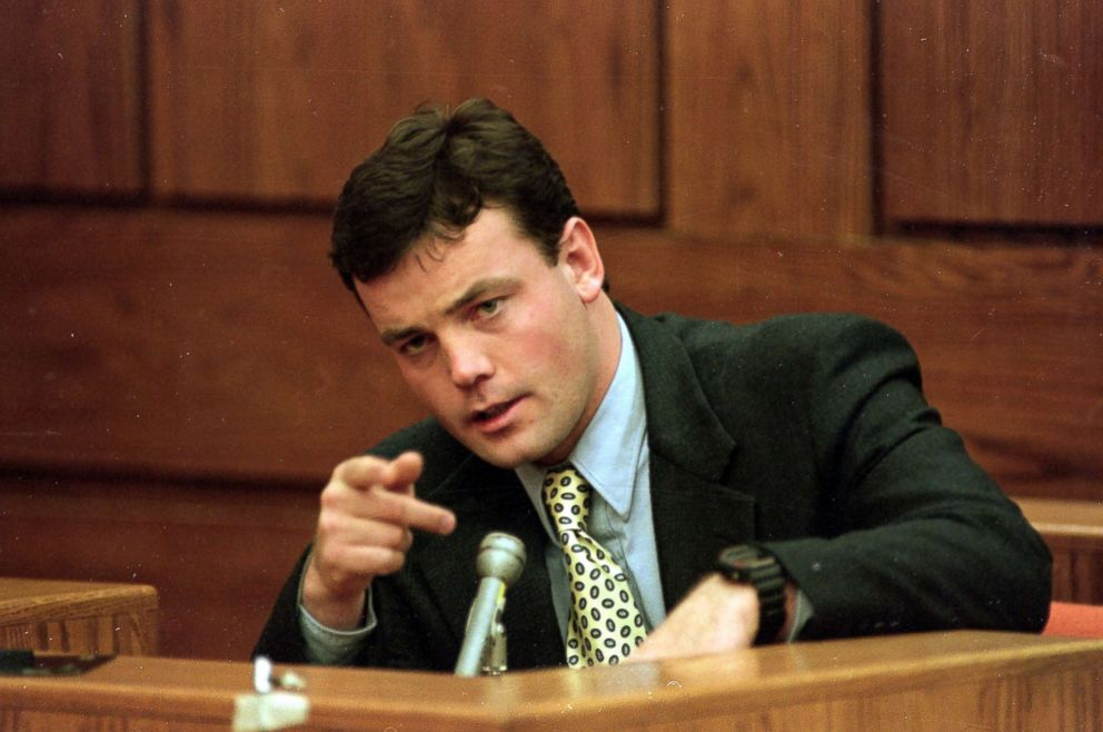 PHOTO: John Bobbitt points during testimony during Lorena Bobbitts trial at the Prince William Courthouse in Manassas, Va., Jan. 19, 1994.