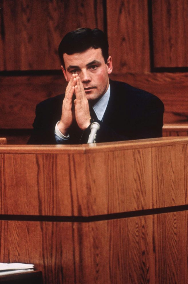 PHOTO: John Wayne Bobbitt testifying in court in Manassass, Virginia, against his estranged wife, Lorena, during her trial for cutting off his penis, Jan, 1994.