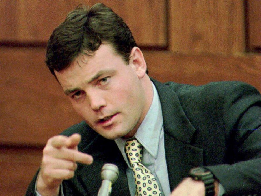 PHOTO: John Wayne Bobbitt points during testimony on the sixth day of his wife Lorena Bobbitts malicious wounding trial at the Prince William Courthouse in Manassas, VA Jan. 19, 1994.