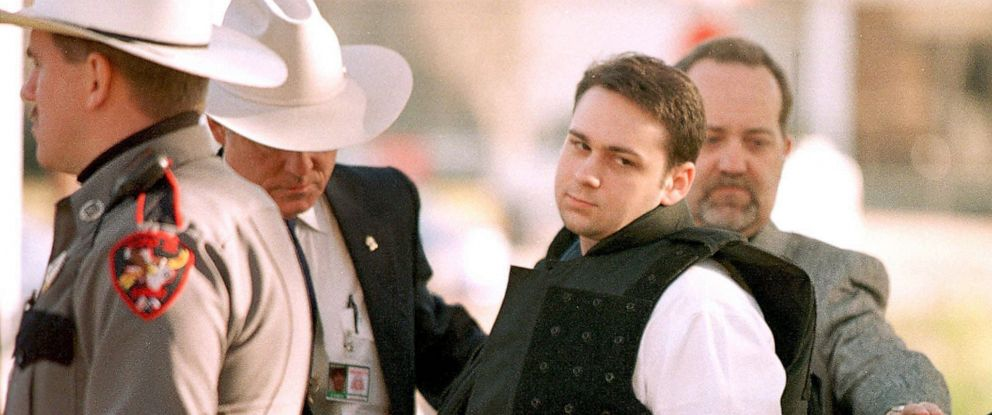 PHOTO: In this file photo taken on Feb. 24, 1999 John William King is escorted into the Jasper County Courthouse for the penalty phase of his capital murder trial in Jasper, Texas.