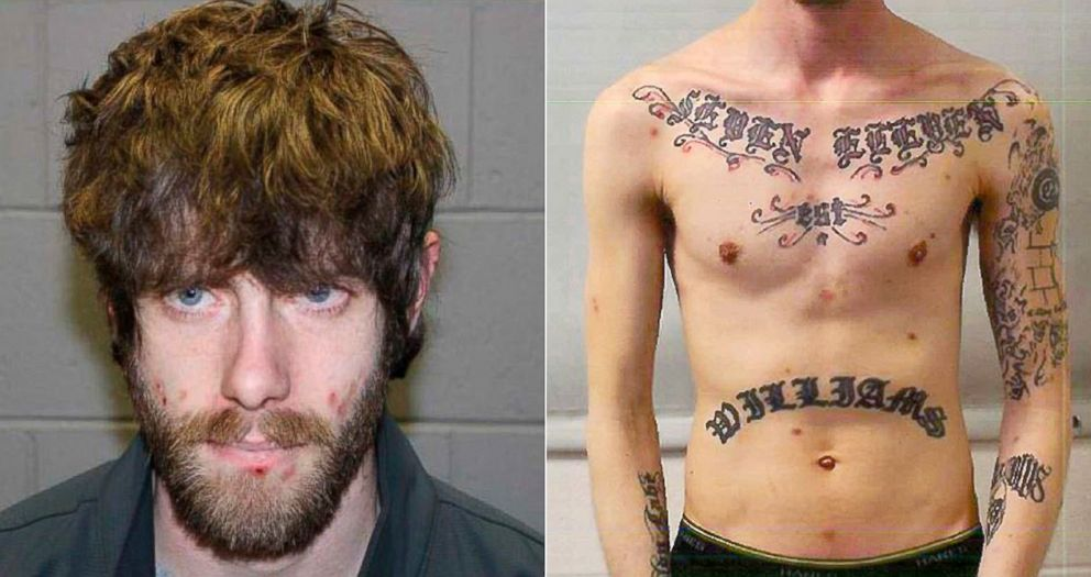 PHOTO: These undated photos released by the authorities show John Williams from Madison, Maine, and his tattooed upper body.