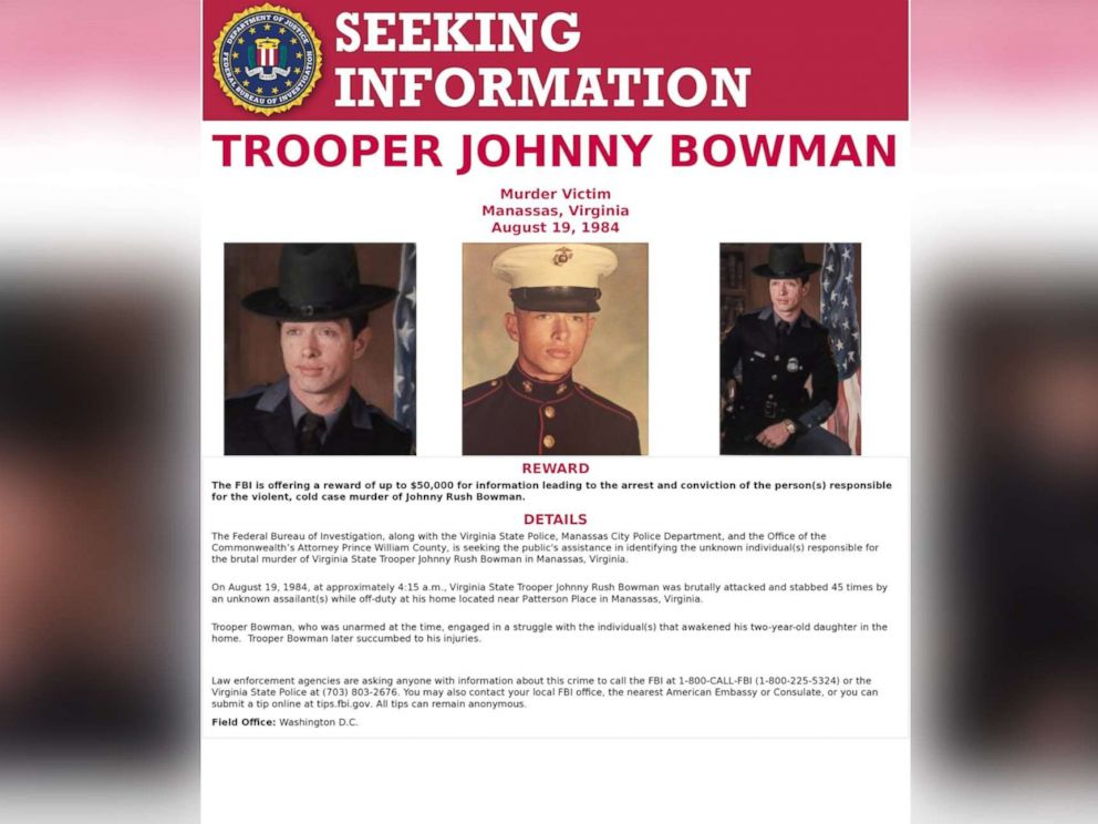 PHOTO: A wanted poster released by the F.B.I. with images of Virginia State Trooper Johnny Rush Bowman who was murdered in Manassas, Va., Aug. 19, 1984.