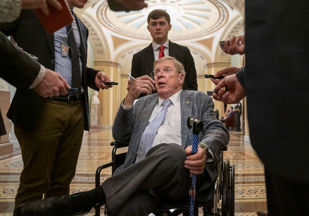 PHOTO: In this photo taken Tuesday, April 9, 2019, Sen. Johnny Isakson talks to reporters just outside the chamber as Senate negotiations over a disaster relief package for Puerto Rico broke down, at the Capitol in Washington, D.C.