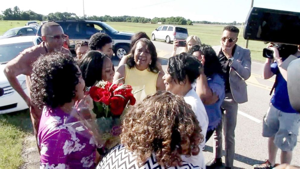 Alice Johnson reunites with her family members June 6, 2018.