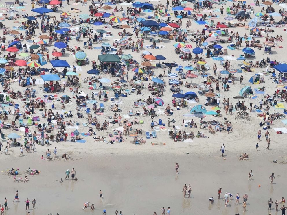 PHOTO: Crowded beach on a very hot day, as seen from an aircraft flying over beach areas, July 1, 2018, Jones Beach Island, N.Y.