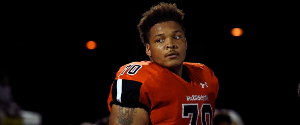 PHOTO: Then-McDonogh high school football lineman Jordan McNair watches from the sideline during a game in McDonogh, Md., Sept. 16, 2016.
