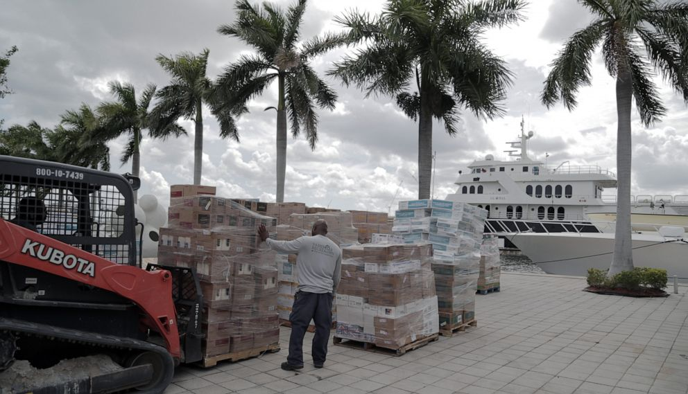 PHOTO: Chef Jose Andres load up a 240-ft yacht in Fort Lauderdale, Fla., to bring supplies to the Bahamas, Sept. 4, 2019.