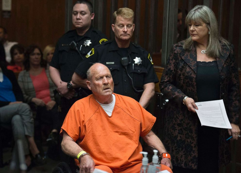 PHOTO: Joseph James DeAngelo is arraigned in a Sacramento courtroom and charged with murdering Katie and Brian Maggiore in Rancho Cordova in 1978 on April 27, 2018, in Sacramento, Calif.
