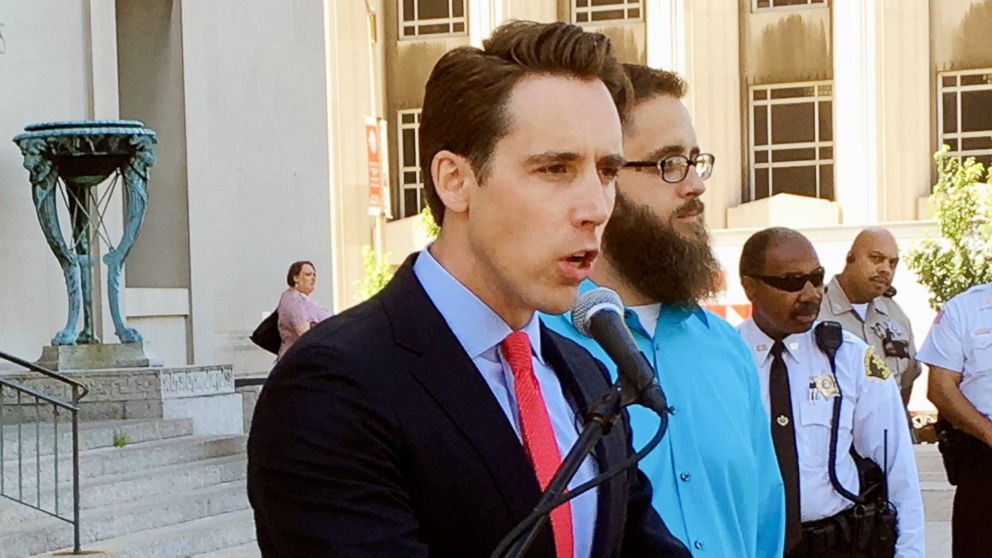 Missouri Attorney General Josh Hawley speaks at a news conference in St. Louis, June 21, 2017.