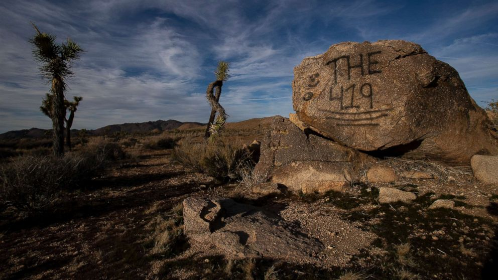 A rock has been vandalized with graffiti in Joshua Tree National Park on Jan. 8, 2019 in Joshua Tree, Calif.