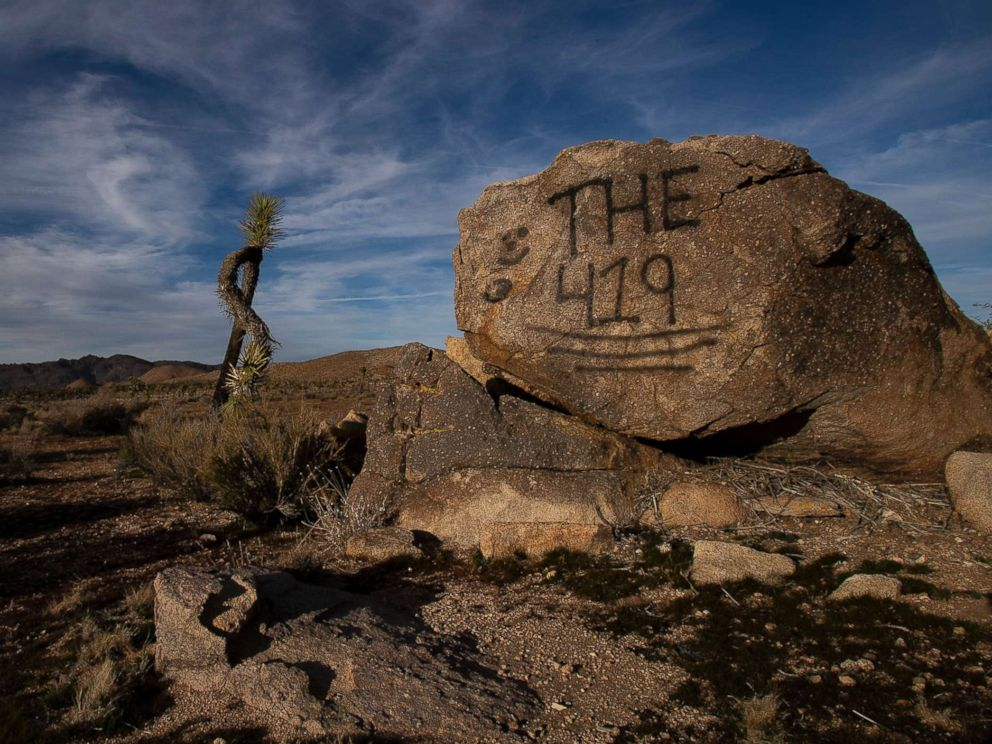 PHOTO: A rock has been vandalized with graffiti in Joshua Tree National Park on Jan. 8, 2019 in Joshua Tree, Calif.