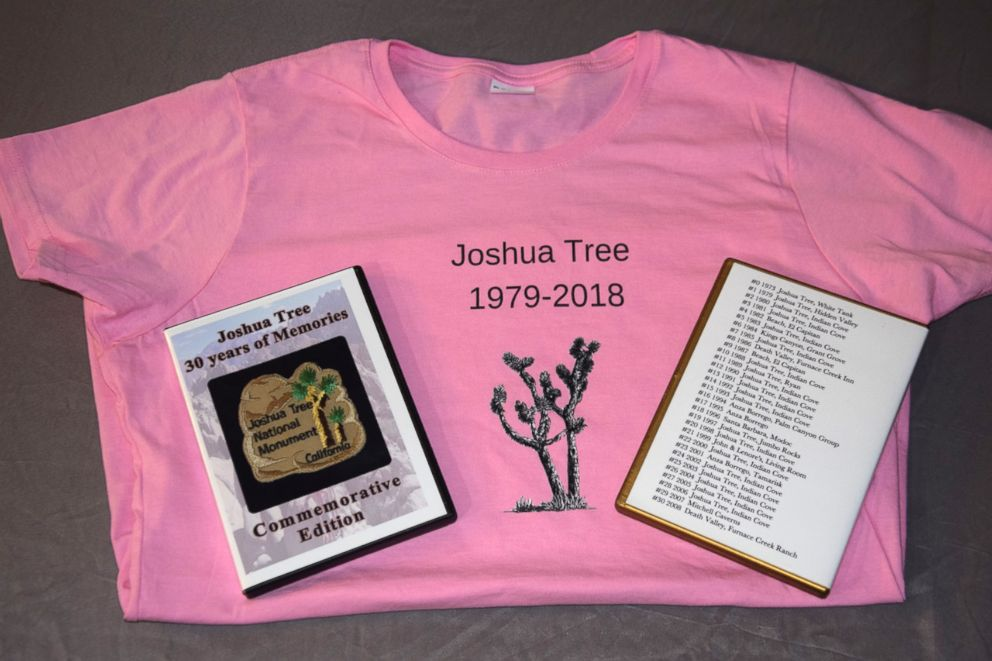 PHOTO: T-shirts designed for the 40th year of Joshua Tree along with a copy of a commemorative DVD and trip information for the 30th year.